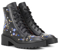 Bestickte Ankle Boots aus Leder