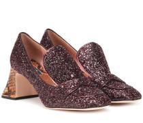 Loafer-Pumps aus Glitter und Leder