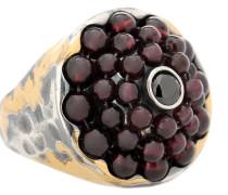 Ring aus Sterlingsilber und 24kt Gold mit Granaten