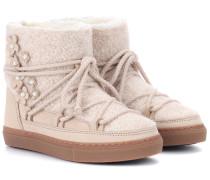 Leder-Boots Curly Flower mit Fellfutter