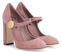 Mary-Jane Pumps aus Veloursleder