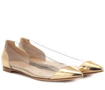 Ballerinas Plexi aus Metallic-Leder