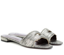 Slides aus Metallic-Leder