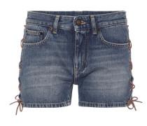 Jeansshorts mit Schnürdetails