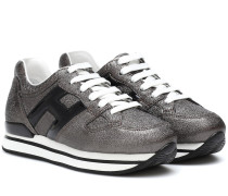 Sneakers H222 aus Metallic-Leder