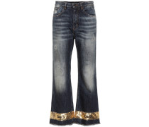 Cropped Jeans mit weitem Bein