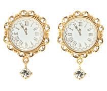 Vergoldete Clip-Ohrringe Fantasy mit Uhr