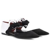 Ballerinas aus Leder und Veloursleder