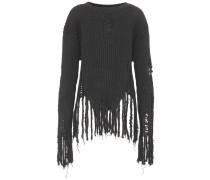 Distressed-Pullover aus Wolle mit Fransen
