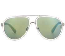 Verspiegelte Sonnenbrille mit Schlangenleder