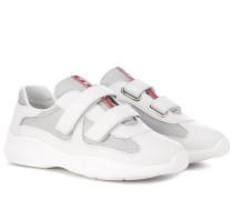 Sneakers mit Lederbesatz