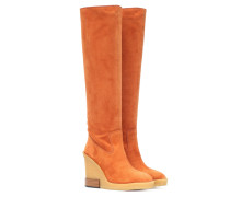 Wedge-Stiefel aus Veloursleder