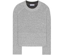 Cropped-Pullover aus Metallic-Strick