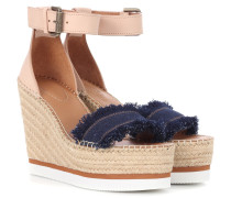 Espadrille-Sandalen aus Leder und Denim