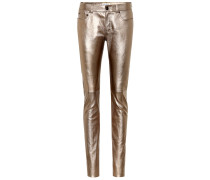 Low-Rise Jeans aus Metallic-Leder