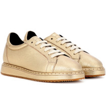Sneakers aus Metallic-Leder