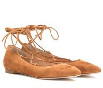Geschnürte Ballerinas aus Veloursleder