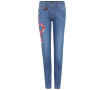 Bestickte Mid-Rise Jeans