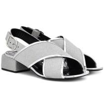 Sandalen aus Glitter-Leder