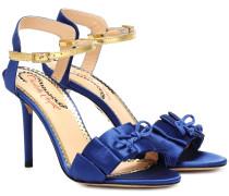 Sandalen aus Satin mit Leder