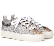 Sneakers mit Glitter und Kristallen