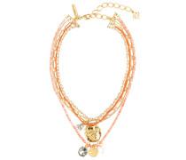 Halskette mit Kristallen und Perlen