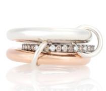 Ring Libra Custom aus 18kt Roségold, 925er Sterlingsilber und Diamanten