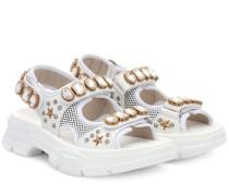 Verzierte Sandalen Aguru aus Leder
