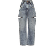 High-Rise Jeans mit Cut-outs