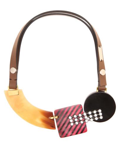 Halskette mit Horn, Leder und Glas