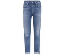 High-Rise Jeans Liya mit Distressed-Partien
