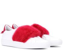 Sneakers aus Leder mit Fell