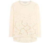 Scuba-Pullover aus Baumwollgemisch mit Lochspitze