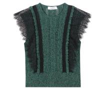Kurzarm-Pullover aus Spitze und Strick
