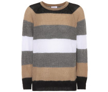 Gestreifter Pullover aus Mohair und Wolle