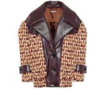 Jacke aus Tweed mit Leder