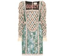 Verziertes Kleid aus Lamé mit Spitze