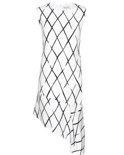 Asymmetrisches Crêpekleid mit Print