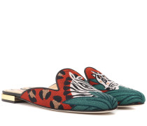 Bestickte Slippers Animal Kingdom aus Canvas