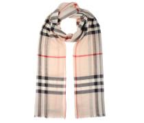 Karierter Gaze-Schal aus Wolle und Seide