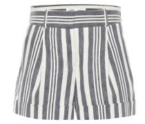 Gestreifte Shorts aus Leinen und Baumwolle