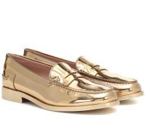Loafers aus Metallic-Leder