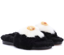 Slippers Slider Egg aus Shearling mit Nerz