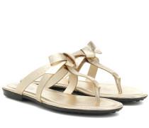 Sandalen aus Metallic-Leder