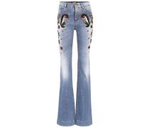 High-Waist Jeans mit Verzierungen