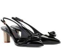 Slingback-Pumps Flower Heel aus Lackleder