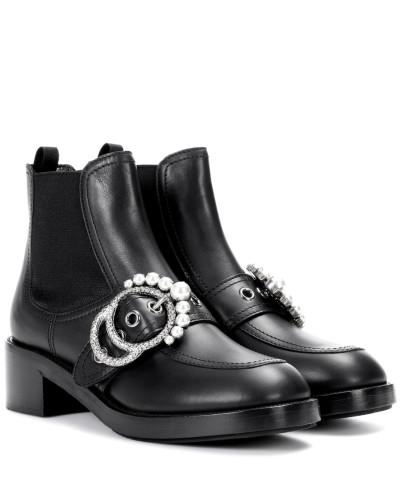 Miu Miu Damen Verzierte Ankle Boots aus Leder Auftrag UhVL4X0TAg