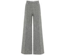 Hose aus Woll-Tweed mit weitem Bein