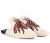Slippers aus Wolle mit Stickerei