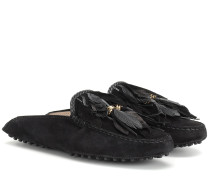 Slippers aus Veloursleder